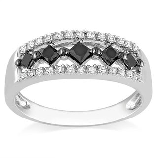 Haylee Jewels Sterling Silver 1/2ct TDW Black and White Diamond Ring (G-H, I2-I3)
