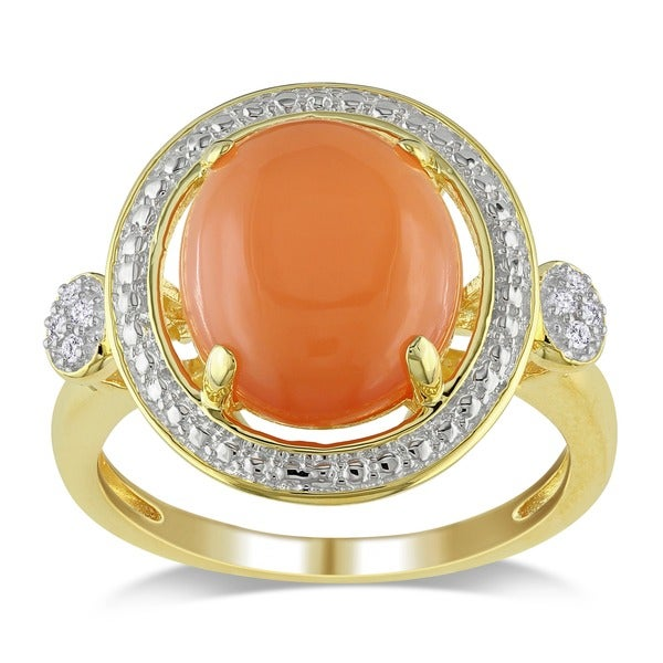 Miadora Yellow Silver Moonstone and Diamond Accent Ring