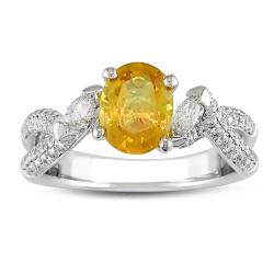 Miadora 18k White Gold Yellow Sapphire and 5/8ct TDW Diamond Ring (G-H, SI2)