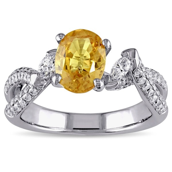 Miadora Signature Collection 18k White Gold Yellow Sapphire and 5/8ct TDW Diamond Ring (G-H, SI2)