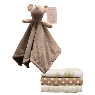 Piccolo Bambino Cuddly Monkey and Receiving Blanket Gift Set