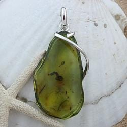 Sterling Silver Green Baltic Amber Vined Freeform Pendant (Lithuania)