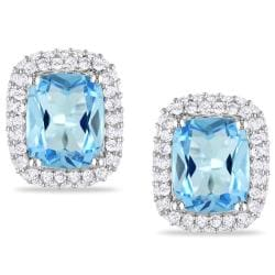 Miadora Sterling Silver Blue Topaz and Sapphire Earrings