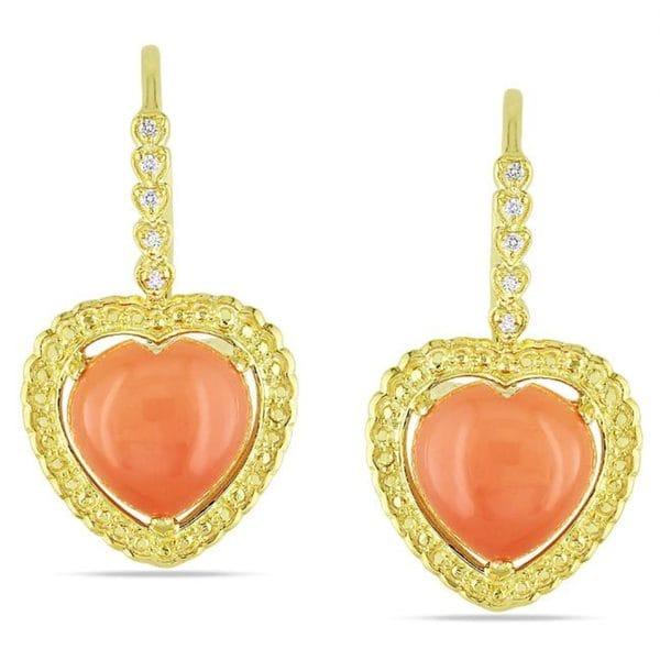 Miadora Goldtone Moonstone and Diamond Accent Earrings