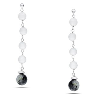 M by Miadora Sterling Silver Black Quartz and White Agate Earrings