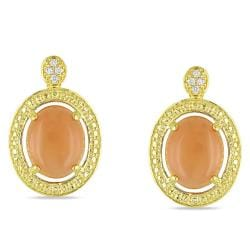 Miadora Goldtone Orange Moonstone and Diamond Accent Earrings