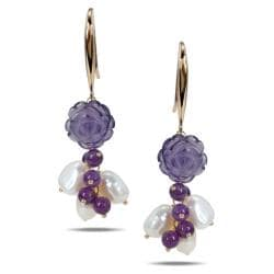 Miadora Sterling Silver Amethyst and Freshwater Pearl Earrings (10-11 mm)