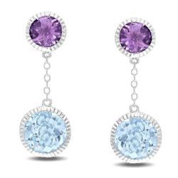 Miadora Sterling Silver Amethyst and Blue Topaz Earrings