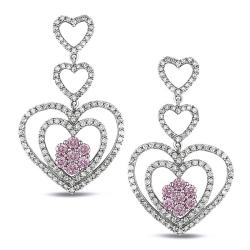 Miadora 14k White Gold Pink and White Diamond Earrings (G-H, I2)