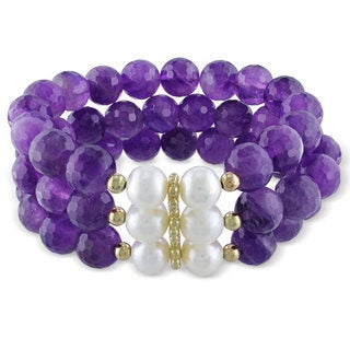 Miadora Sterling Silver White Pearl and Amethyst Bead Stretch Bracelet (9-10 mm)