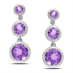 Miadora Sterling Silver Amethyst Dangle Earrings