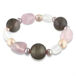 Miadora Agate, Quartz and Freshwater Pink Pearl Stretch Bracelet