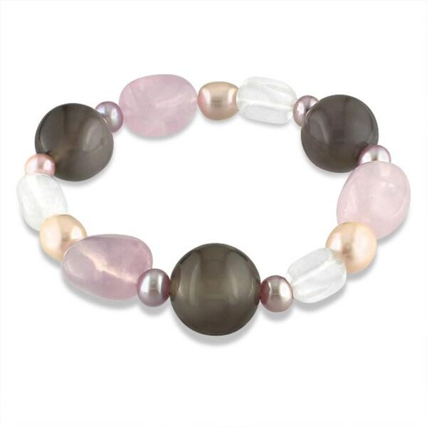 M by Miadora Agate, Quartz and Freshwater Pink Pearl Stretch Bracelet