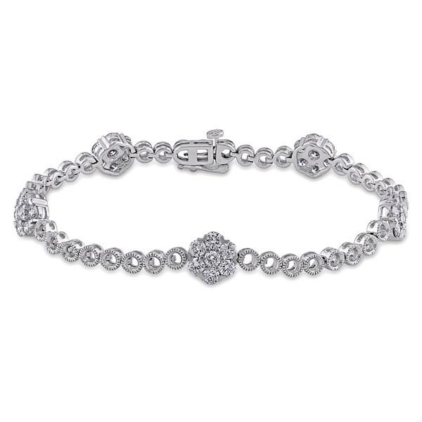 Miadora 14k White Gold 2 1/2ct TDW Diamond Bracelet (G-H, SI1-SI2)