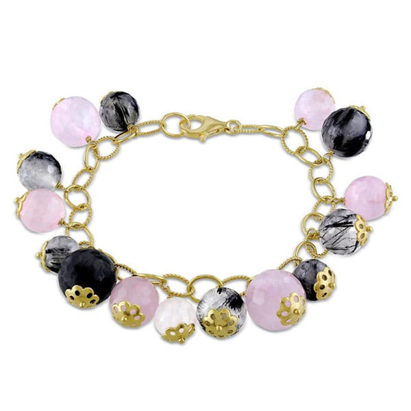 Miadora Pink-Plated Silver Rose and Black Rutilated Quartz Bracelet