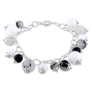 Miadora Sterling Silver Agate and Quartz Bracelet