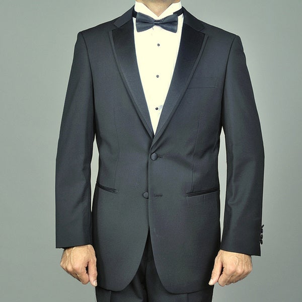 Modern Lapel Black Fully Lined Two-button Tuxedo