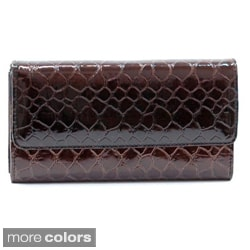 Faux Leather Embossed Snake Skin Checkbook Wallet with Five Interior Pockets