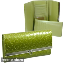 Dasein Silvertone Faux-Leather Embossed Snake-Skin Checkbook Wallet