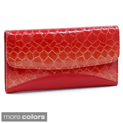 Faux Leather Embossed Snake Skin Checkbook Wallet with One Back Zippered Pocket