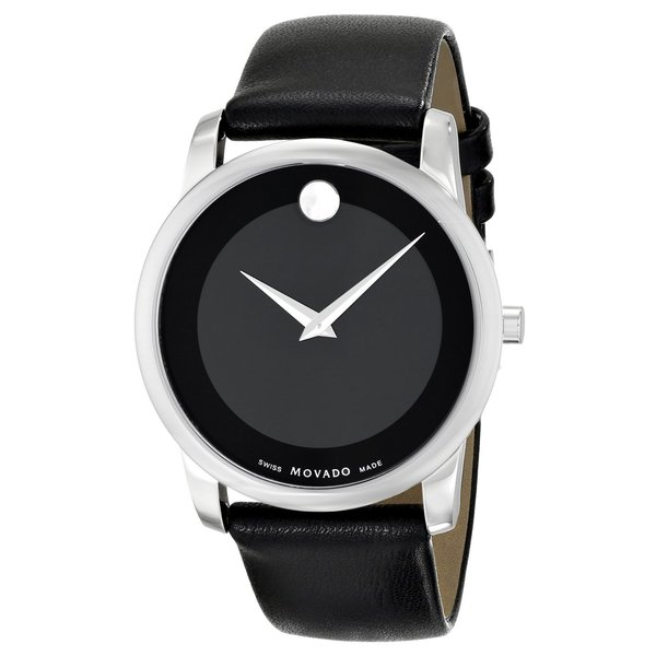 Movado Men's 0606502 'Museum' Black Leather Strap Watch