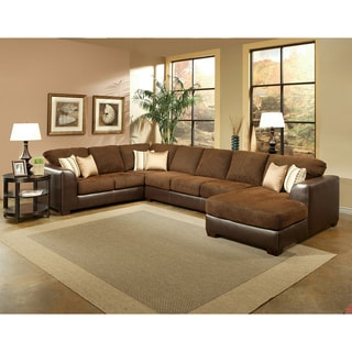 Furniture of America Chester Rust Micro-Denier Fabric Sectional