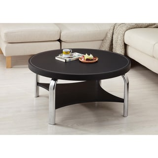 Furniture of America Industrial Black Leatherette Coffee Table