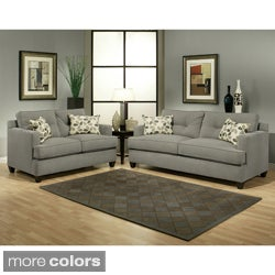 Furniture of America Nicolas 2-piece Micro-Denier Fabric Sofa and Loveseat Set