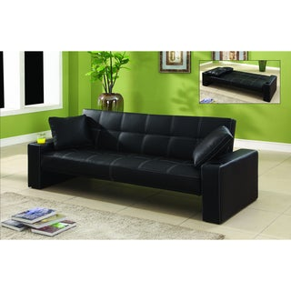 Mills Black Bi-Cast Leather Convertible Sofa/ Sofabed