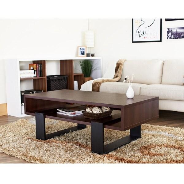 Furniture of America Fayth Dark Walnut/ Black Coffee Table
