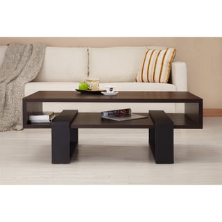 Furniture of America Fayth Dark Walnut/ Black Coffee Table