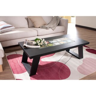 Furniture of America Peri Black Photo Insert Coffee Table