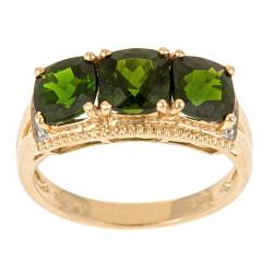 D'Yach 14k Yellow Gold Chrome Diopside and Diamond Accent Ring