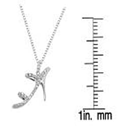 14k White Gold 0.10ct TDW Stiletto Shoe Diamond Necklace (I-J, I1-I2)