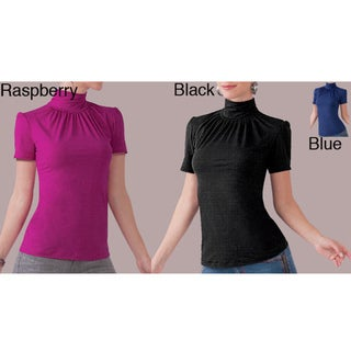 Illusion Microfiber Solid Short-sleeve Rouched Turtleneck Blouse