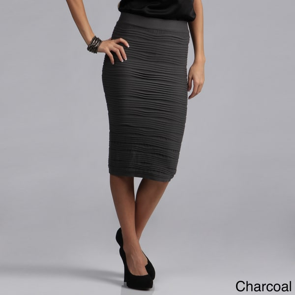 Tabeez Women's Textured Stretch High-waist Pencil Skirt