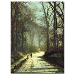 John Grimshaw 'Moonlight Walk' Medium Canvas Art