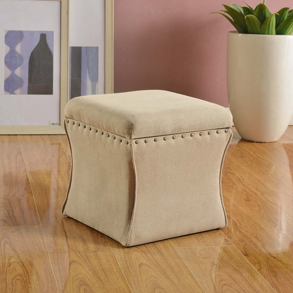 HomePop Cinch Storage Ottoman with Nail Heads