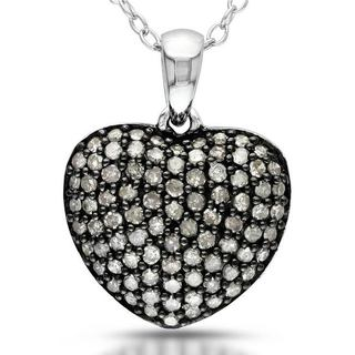 Miadora Sterling Silver 1/2ct TDW Pave Diamond Heart Necklace