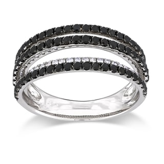 Miadora Sterling Silver 1ct TDW Black-and-white Round Diamond Ring (G-H, I3)
