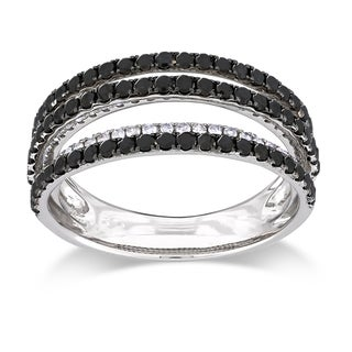 Miadora Sterling Silver 1ct TDW Black and White Multi Row Diamond Ring (G-H, I3)