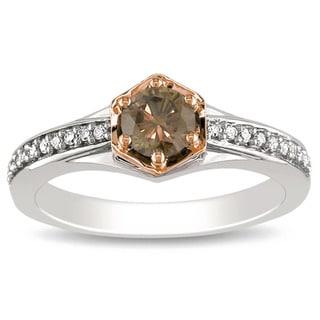 Miadora 14k Two-Tone Gold 1/2ct TDW Brown and White Diamond Ring (H-I, I1-I2)