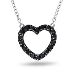 M by Miadora Sterling Silver 1/2ct TDW Black Diamond Heart Necklace