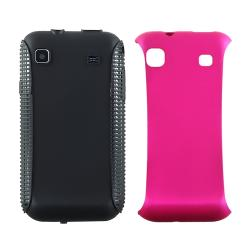 INSTEN Hot Pink/ Black Hybrid Phone Case Cover Protector for Samsung Vibrant T959 Galaxy