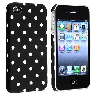 INSTEN Black Dot Rubber-coated Phone Case Cover Protector for Apple iPhone 4S/ 4