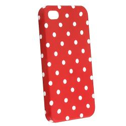 Red Dot Rubber-coated Case Protector for Apple iPhone 4S/ 4