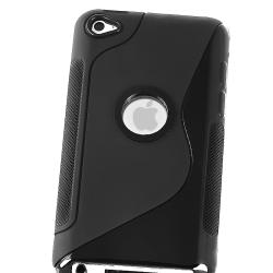 Black S Shape TPU Skin Case for Apple iPod Touch 4th Gen