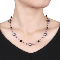 Sterling Silver Black Tahitian Pearl and Multi-gemstone Necklace