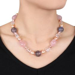 Miadora Sterling Silver 230ct TGW Multi-gemstone and FW Pearl Necklace