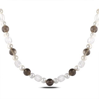 M by Miadora Sterling Silver 95ct TGW Multi-gemstone and FW Pearl Necklace